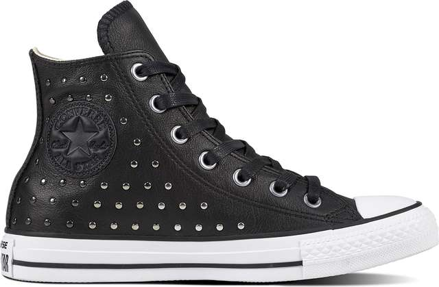 Converse CHUCK TAYLOR ALL STAR LEATHER BLACK/BLACK/SILVER C561682