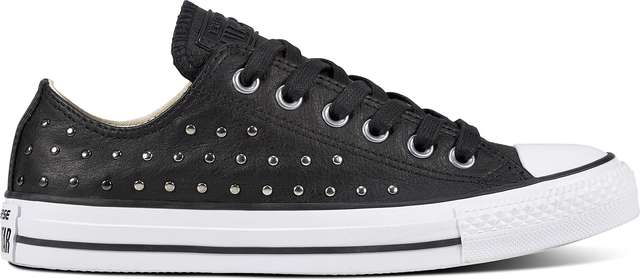 Converse CHUCK TAYLOR ALL STAR LEATHER BLACK/BLACK/SILVER C561685