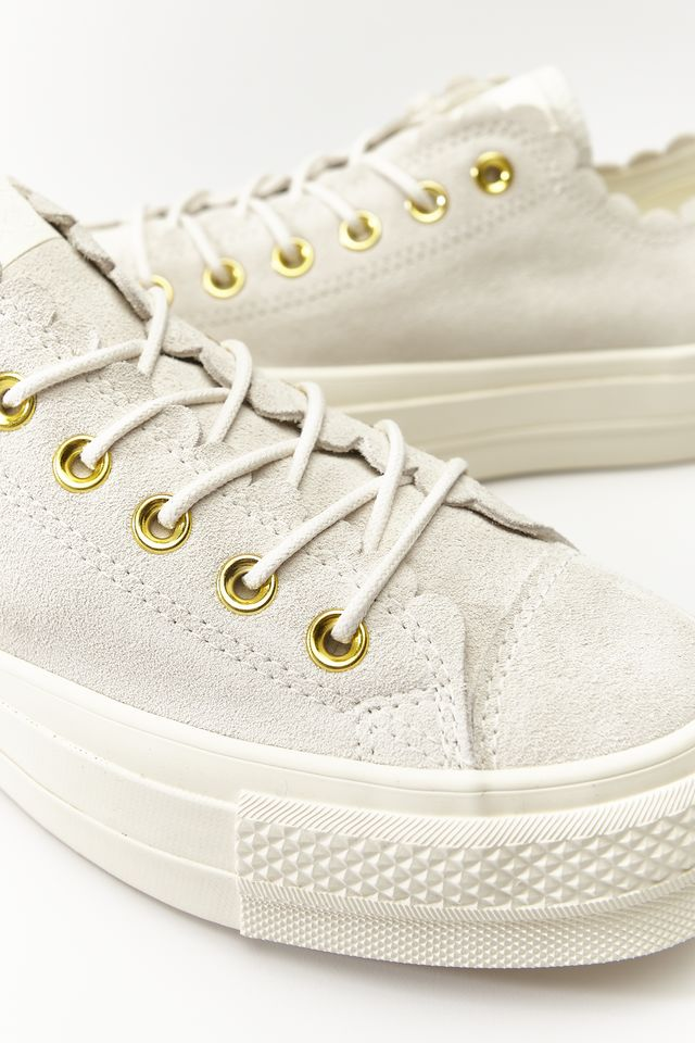 Converse CHUCK TAYLOR ALL STAR LIFT SCALLOP 498 EGRET/GOLD/EGRET C563498