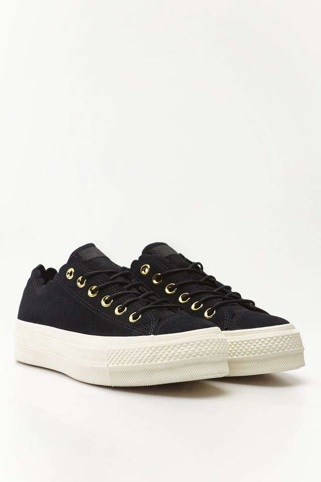 Converse CHUCK TAYLOR ALL STAR LIFT SCALLOP 499 BLACK/GOLD/EGRET C563499